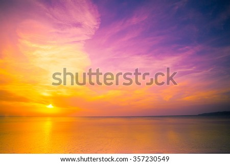 Early morning, vintage pink sunrise over sea #357230549