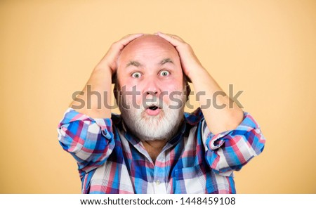 Early signs balding. Elderly people. Bearded grandfather grey hair. Hair loss. Age issues. Man losing hair. Health care concept. Male pattern baldness genetic condition caused by variety factors.