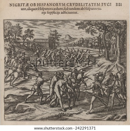 Early slavery in the Americas, Spanish soldiers slaughtering and capturing resisting Native Americans. The 1595 image by Theodor de Bry, contributed to the \'Black Legend,\' of Spanish inhumanity.