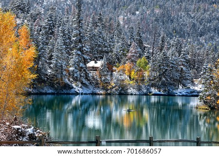 Early snow in Colorado Rocky mountains during autumn time