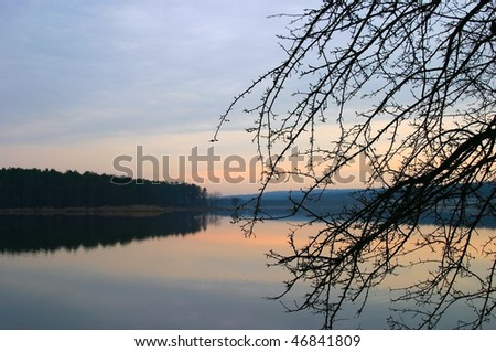 Early spring landscape with lake