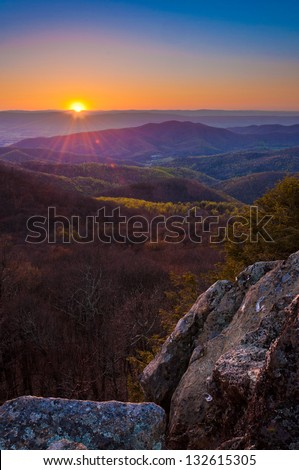 Early spring sunset over the Appalachian Mountains from Bearfence Mountain, located on the Appalachian Trail in Shenandoah National Park, Virginia.