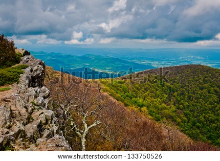 Early spring view from Hawksbill Summit, Shenandoah National Park, Virginia.