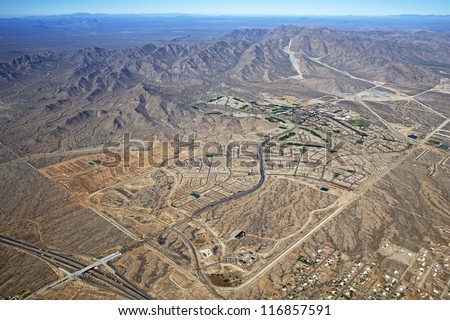 Early stages of a planned living community of Interstate 10 near Phoenix, Arizona