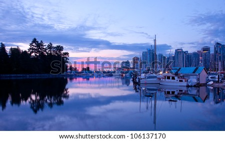 Early sunrise light on a marina in Stanley Park, Vancouver, British Columbia.