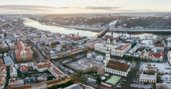 Early winter morning in Kaunas old town, Lithuania. Drone aerial view