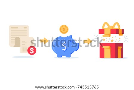 Earn points for purchase concept, loyalty program, cash back, marketing and promotion, reward gift flat style, get bonus, flat style icons illustrations