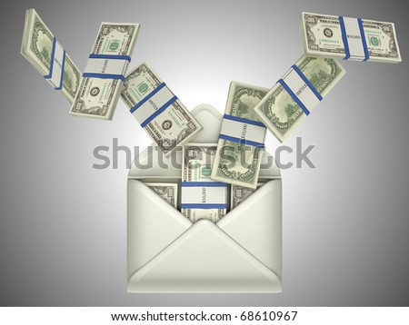 Earnings and money transfer: US dollars in opened envelope over grey
