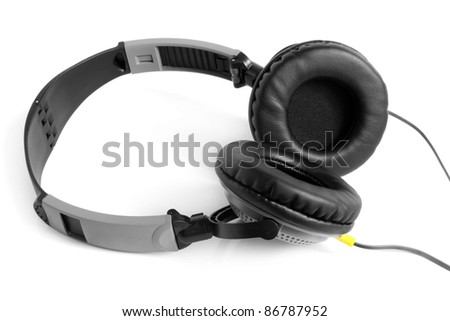 Earphones on the white background