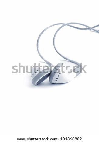 earphones on white background.blue tone