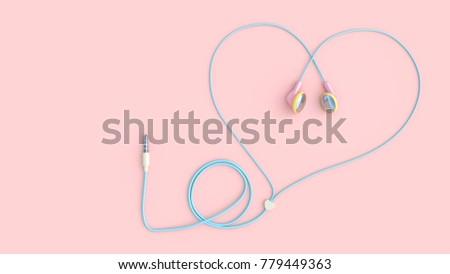 earphones pink color heart shape on pastel pink background, love concept. 3d render.