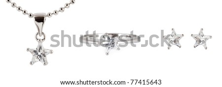 earrings with necklace and ring isolated on white