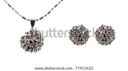 earrings with necklace isolated on white