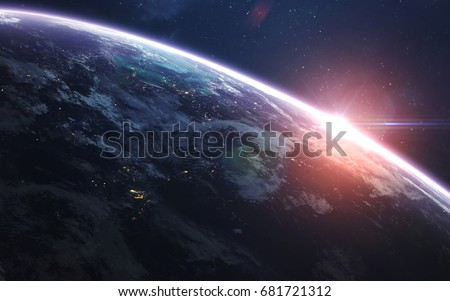 Earth. Abstract space wallpaper. Universe filled with stars, nebulas, galaxies and planets. Elements of this image furnished by NASA
