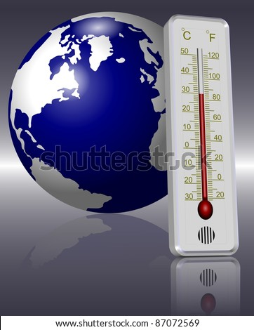 Earth and a thermometer in front of it indicating global warming / Thermometer and Earth
