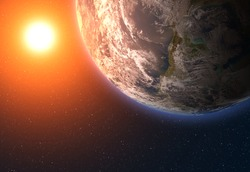 Earth and bright sun. Elements of this image furnished by NASA.