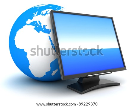 Earth and computer monitor