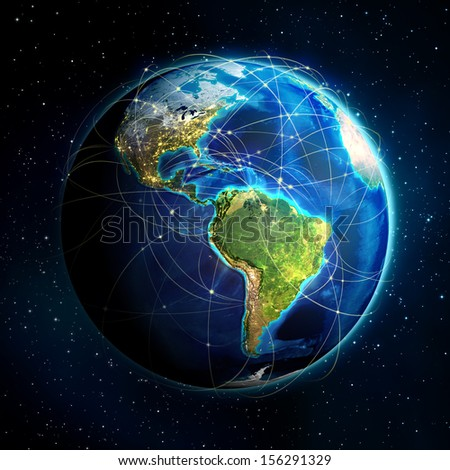 earth and flight routes - Universe background - USA