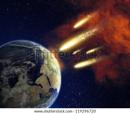 Earth and flying asteroids in space. Asteroid impact. Catastrophe (elements furnished by NASA).