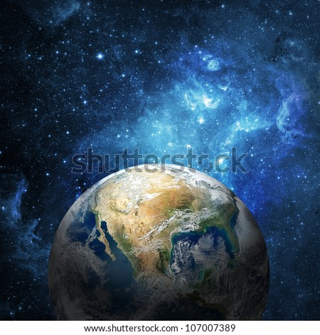 Earth and galaxy (Collage images from www.nasa.gov) - stock photo