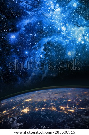 Earth and galaxy. Elements of this image furnished by NASA. #285500915