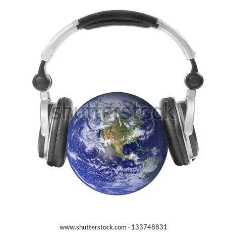 Earth and headphones. Elements of this image furnished by NASA