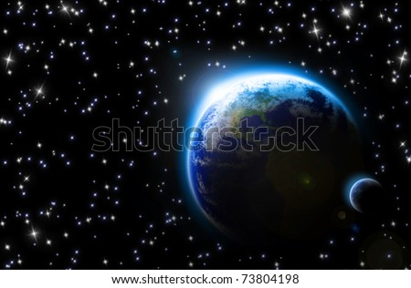 earth and its moon in a sea of stars