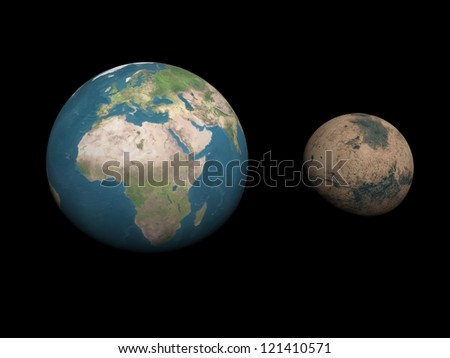 Earth and Mars planets aside to compare sizes in black background