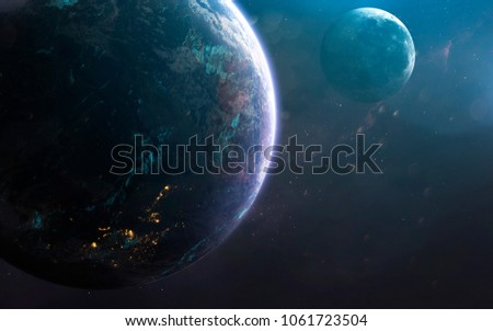 Earth and moon, awesome science fiction wallpaper, cosmic landscape. Elements of this image furnished by NASA