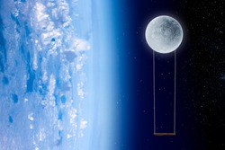 Earth and Moon in blue space