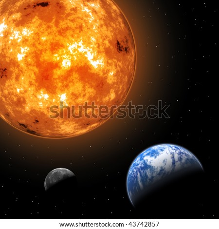 Earth and Moon in front of the Sun