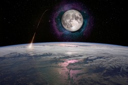 Earth and Moon in space. Spaceship launch, moon mission. Elements of this image furnished by NASA.