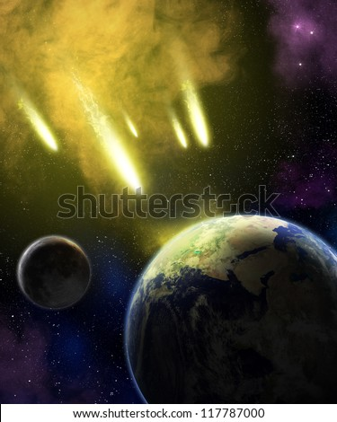 Earth and moon in space with a flying asteroids. Asteroid impact. Catastrophe (elements furnished by NASA).