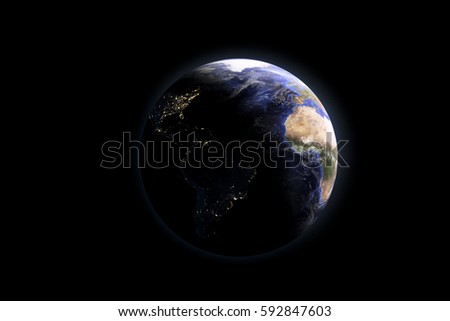 Earth and moon in the dark black space. Isolated on black background Elements of this image furnished by NASA. Space art. Astronomy and science concept