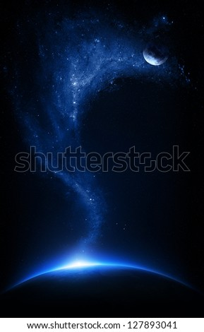 Earth and moon interconnected with starfield    (Elements of this image furnished by NASA-   http://visibleearth.nasa.gov)