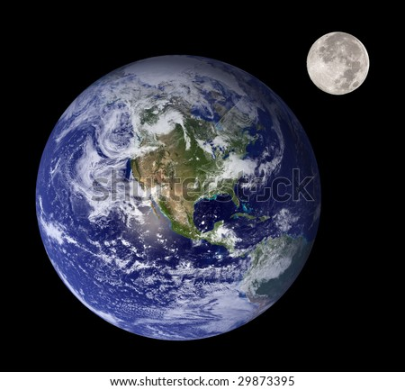 Earth and moon like mother and daughter in outer space