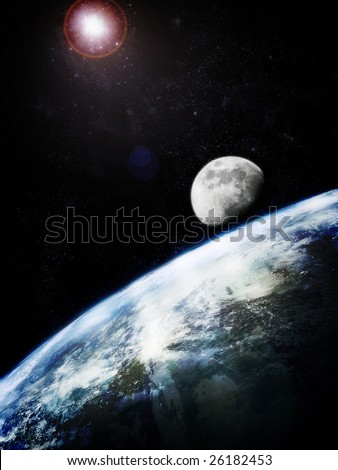 Earth and moon, photorealistic image