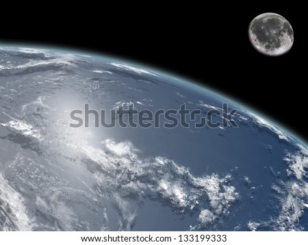 Earth and moon viewed from space. Elements of this image furnished by NASA