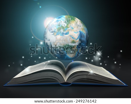 Earth and open book. Education internet e-'learning concept. 3d Elements of this image furnished by NASA