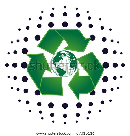 Earth And Recycle Symbol - stock photo