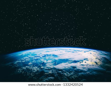 Earth and stars. Blue earth. Great for background.  The elements of this image furnished by NASA.  #1332420524