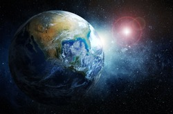 Earth and stars. Elements of this image furnished by NASA.