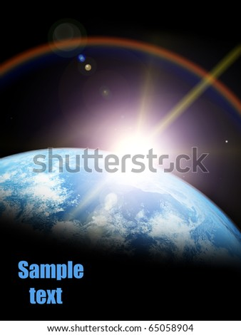 Earth and sun. Space sunrise