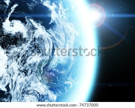 Earth and sun. Space sunrise