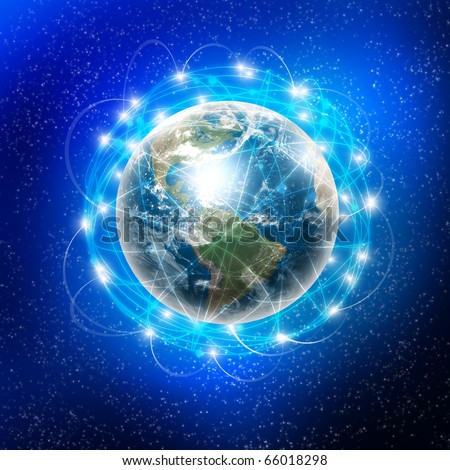 Earth and the communication on its surface. A symbol of high-speed and technology.