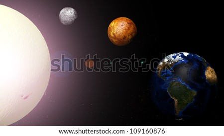 Earth and the planets around the sun at the center.