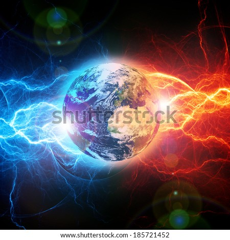 Earth apocalypse in the fire and ice lightnings. Elements of this image furnished by NASA.
