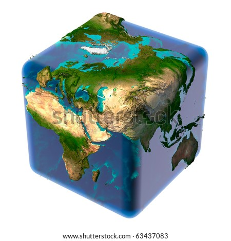 Earth as a cube with translucent body of water and a detailed relief map of the continents and ocean floor