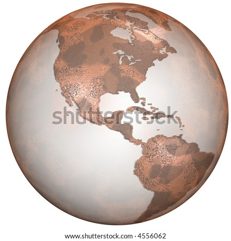 Earth as a rusty, crusty red planet, highly detailed abstract texture. Illustration.