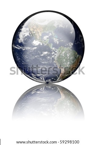 Earth as globe with highlights and reflections. Isolated on white. Earth image public domain courtesy http://earthobservatory.nasa.gov/
